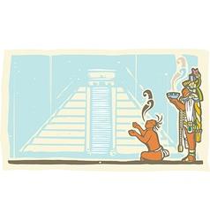 Mayan Priest Sacrifice and Pyramid vector image