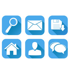 set of main blue internet icons vector image