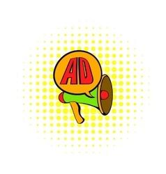 Advertisement megaphone icon comics style vector image vector image