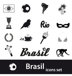 black brazil icons and symbols set eps10 vector image vector image