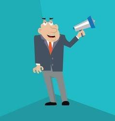 businessman shouting into megaphone vector image