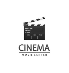 cinema logo with clapper vector image vector image