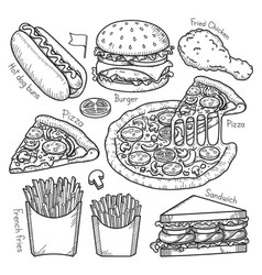 fast food doodle elements hand drawn style vector image vector image