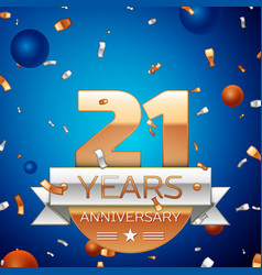 Twenty one years anniversary celebration design vector