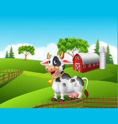 Cartoon funny cow in the farm landscape background vector image vector image