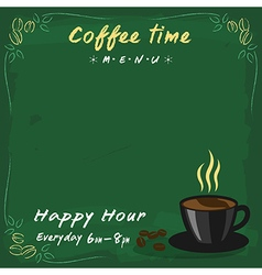 Coffee menu green chalkboard vector image vector image