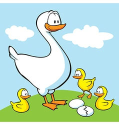 goose with goslings vector image vector image