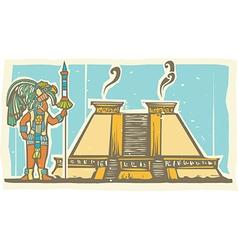 Mayan Warrior and Pyramid vector image vector image