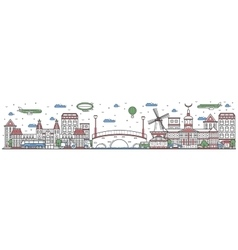 Travel in Amsterdam city line flat design banner vector image vector image