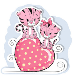 two cute tigers is sitting on a heart vector image vector image
