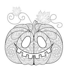 Zentangle stylized Pumpkin face for Halloween vector image