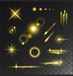 Glowing lights stars glare and glow isolated vector image
