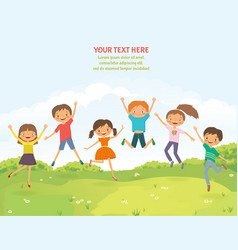 happy jumping children in the summer background vector image