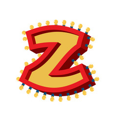 letter z lamp glowing font vintage light bulb vector image
