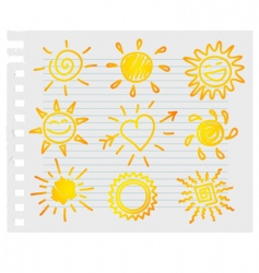 paper sun vector image vector image