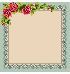 vintage napkin and a bouquet of roses place for yo vector image vector image
