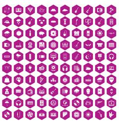 100 music festival icons hexagon violet vector