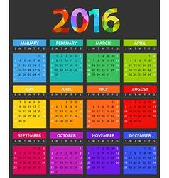 2016 year color calendar template Flat design vector image