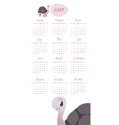 2019 cartoon style childish calendar turtle and vector image