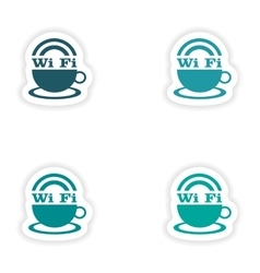 Assembly realistic sticker design on paper wi-Fi vector
