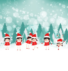 Baby girls on Winter forest background vector