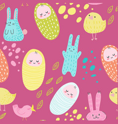 Baby shower seamless pattern with cute bunnies vector