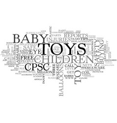 baby toy safety text word cloud concept vector image