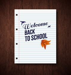 Back to school card Wooden background typography vector image vector image