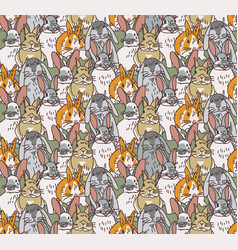 big group rabbits seamless pets animal pattern vector image