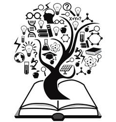 black education icons tree up from book vector image