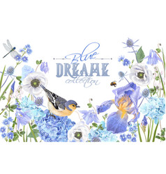 Blue flower bird banner vector