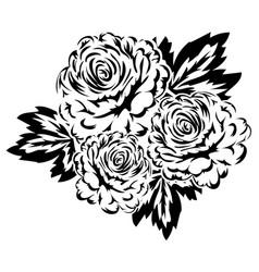 bouquet of flowers monochrome vector image
