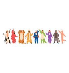 Bundle of men and women dressed in onesies vector