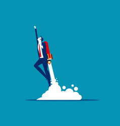 Businessman flying up rocket concept business vector