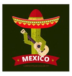 cactus in sombrero vector image