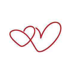 Calligraphy monoline two heart love sign vector