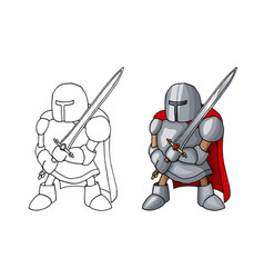 cartoon medieval confident knight with broad sword vector image
