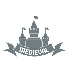 Castle logo simple gray style vector