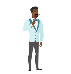 Cheerful groom with a fake mustache vector
