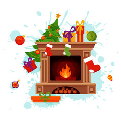 christmas fireplace room interior in colorful vector image