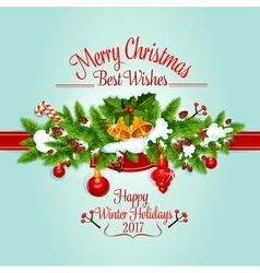Christmas tree garland holiday poster design vector