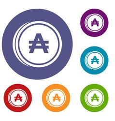 Coin austral icons set vector