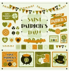 Collection design elements of Saint Patricks Day vector image