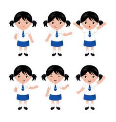 Collection little girls in school uniform vector