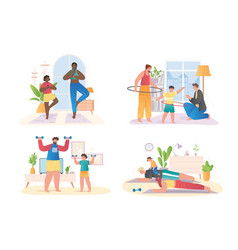 Collection of happy families doing sport exercises vector