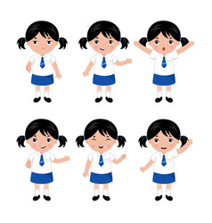 Collection of little girls in school uniform vector