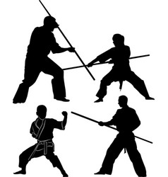 Collection silhouette combative sports vector
