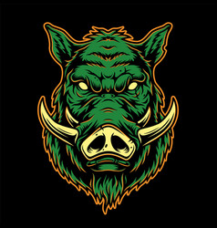 Colorful serious boar head concept vector