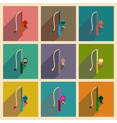 Concept of flat icons with long shadow fishing rod vector