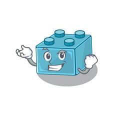 Cool confident successful lego brick toys cartoon vector